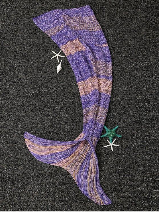 Stripe Knitted Mermaid Tail Blanket - YELLOW + PURPLE  Mobile