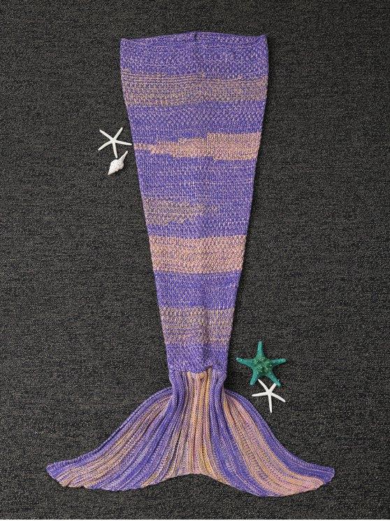 shop Stripe Knitted Mermaid Tail Blanket - YELLOW + PURPLE