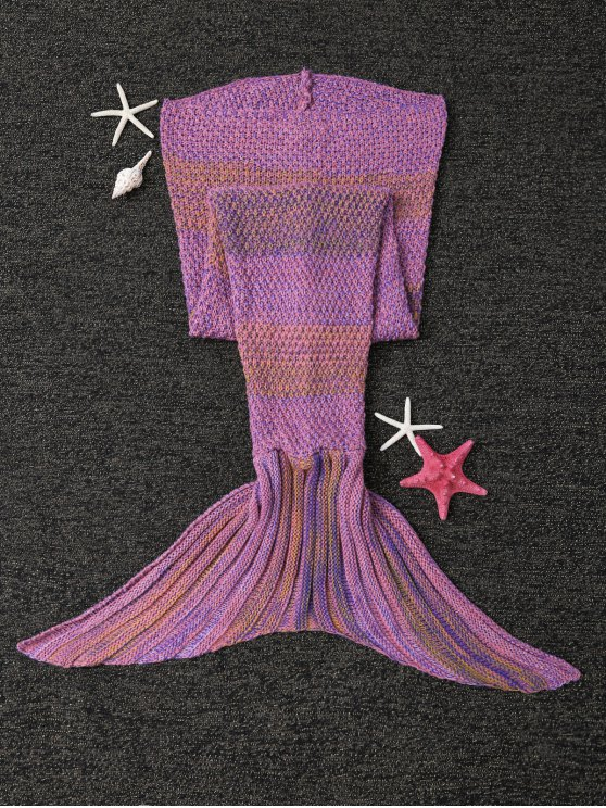 Stripe Knitted Mermaid Tail Blanket - LIGHT PURPLE  Mobile
