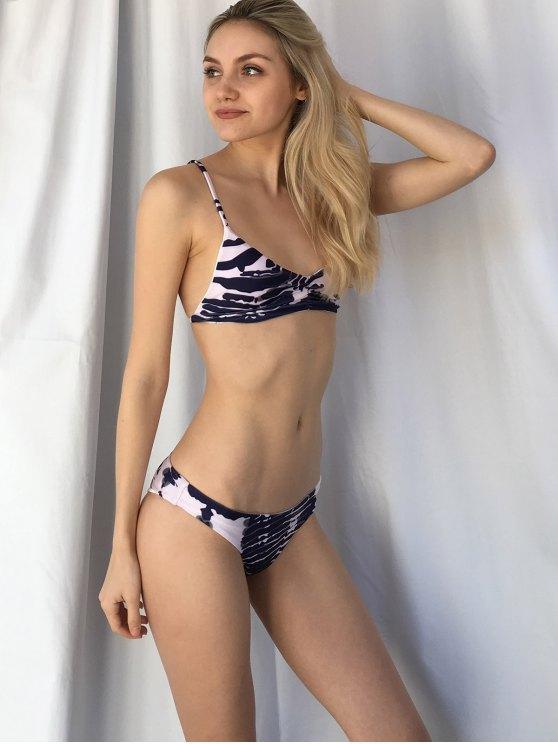 Cut Out Printed Spaghetti Straps Bikini Set - PURPLISH BLUE S Mobile