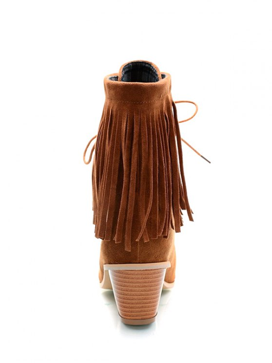 Fringe Tie Up Chunky Heel Short Boots - BROWN 39 Mobile