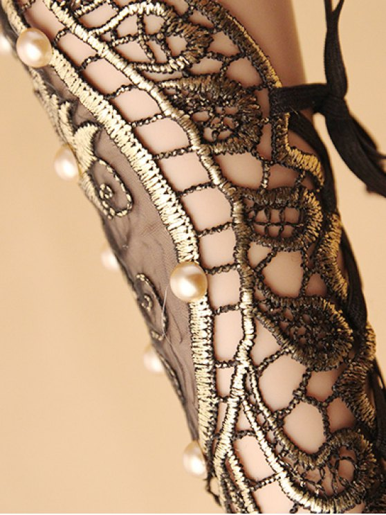 Faux Pearl Rose Lace Glove Bracelet -   Mobile