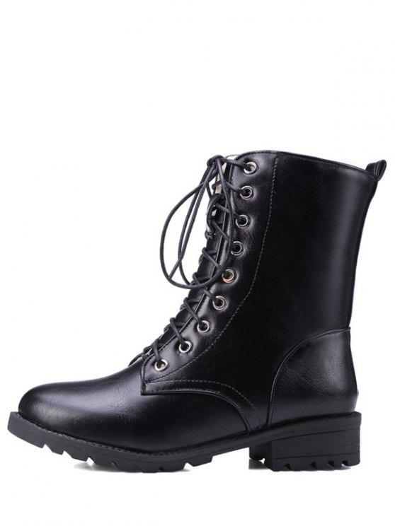 Black Color Lace-Up Combat Boots - BLACK 38 Mobile