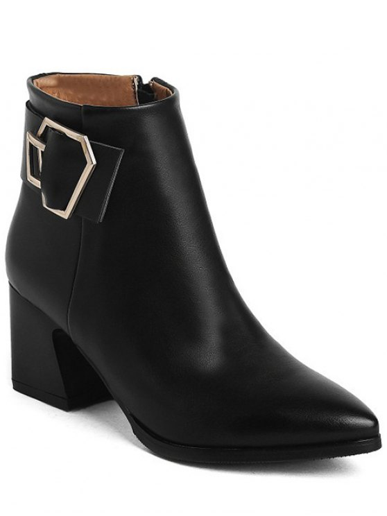 Buckle Strap Pointed Toe Ankle Boots - BLACK 37 Mobile