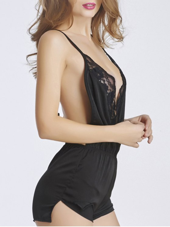 Lace Insert Romper Sleepwear - BLACK 2XL Mobile