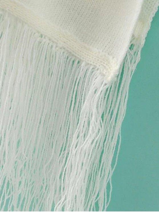 Fringed Knit Poncho - BLACK ONE SIZE Mobile