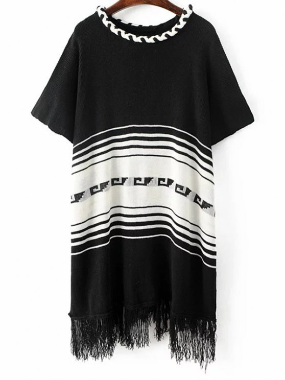 Frangée Knit Poncho - Noir TAILLE MOYENNE