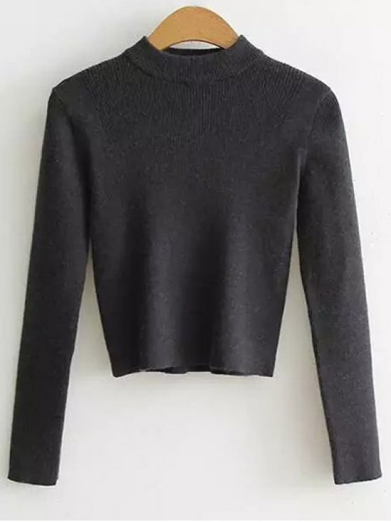 Mock Neck Cropped Pullover Sweater - DEEP GRAY ONE SIZE Mobile