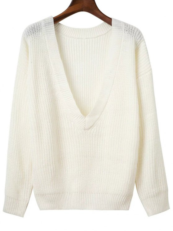 V Retour Chunky Sweater - Blanc TAILLE MOYENNE