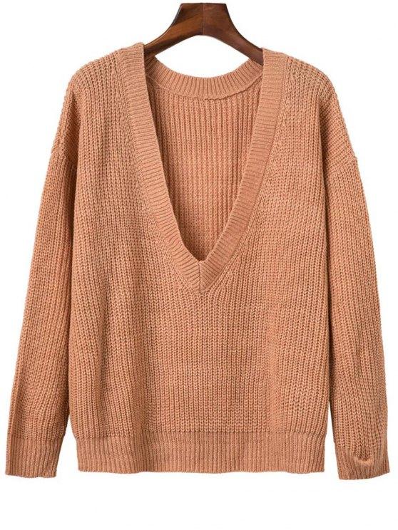 unique V Back Chunky Sweater - ORANGEPINK ONE SIZE