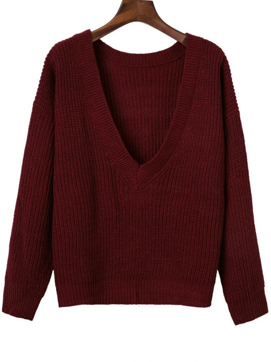 V Retour Chunky Sweater - Rouge vineux  TAILLE MOYENNE