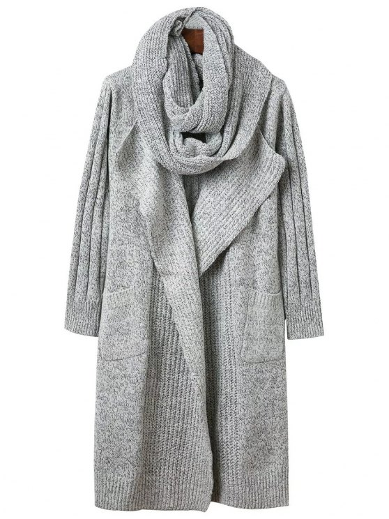 womens Circle Scarf Neck Open Front Cardigan - GRAY ONE SIZE