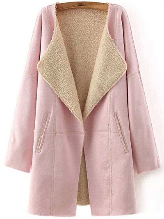Lapel Collar Suede Coat - PINK M Mobile