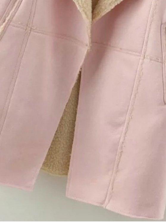 Lapel Collar Suede Coat - DEEP BROWN L Mobile