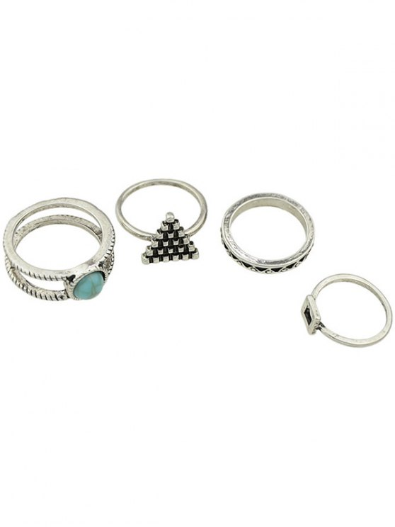 hot Geometric Faux Turquoise Rings - SILVER ONE-SIZE