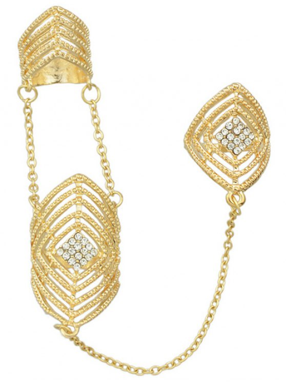 Rhinestone Geometric Ring Jewelry - GOLDEN ONE-SIZE Mobile