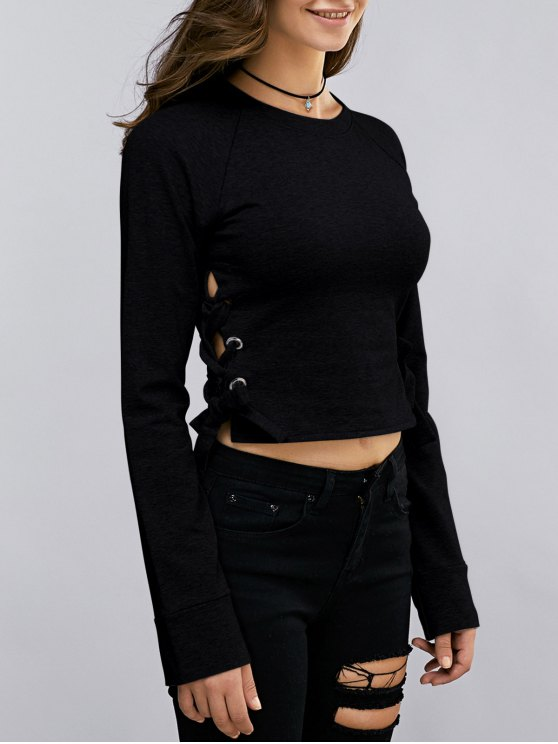 trendy Lace Up Round Neck Cropped Sweatshirt - BLACK M