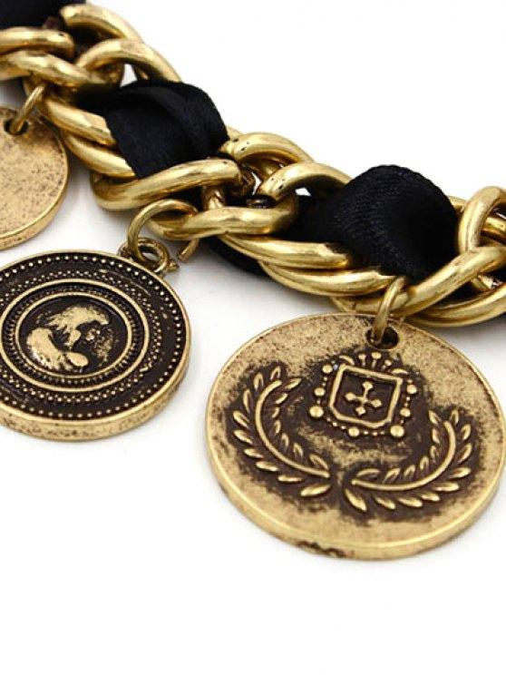 Rhinestone Coin Fringe Bracelet -   Mobile