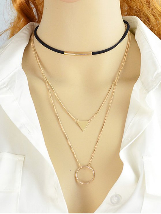 Multiayer Circle Triangle Bar Choker - GOLDEN  Mobile