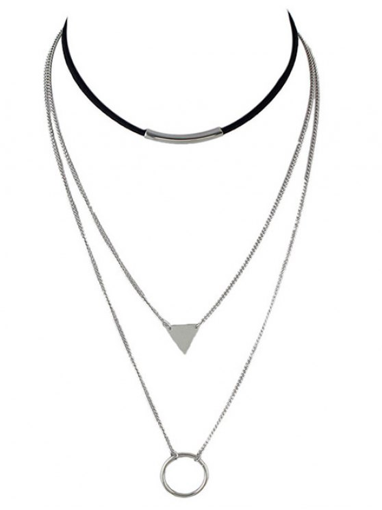 ladies Multiayer Circle Triangle Bar Choker - SILVER