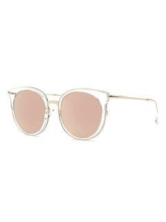 Transparent Cat Eye Mirrored Sunglasses - Rose Gold