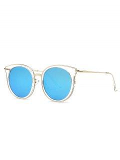 Transparent Cat Eye Mirrored Sunglasses - Light Blue