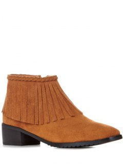 Fringe Square Toe Ankle Boots - Brown 38