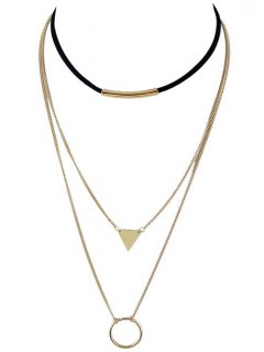 Multiayer Circle Triangle Bar Choker - Golden