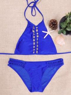 Halter Solid Color Cut Out Bikini Set - Blue M