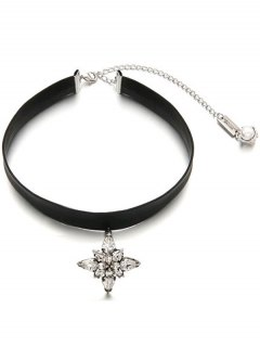 Adjustable Rhinestone Faux Leather Choker - Black