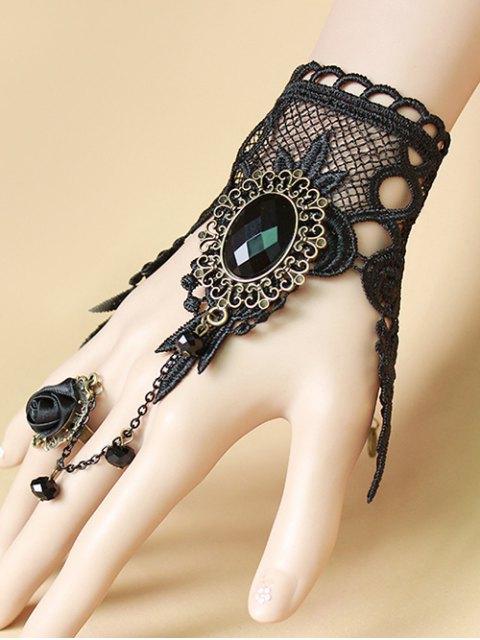 Bracelet en dentelle avec bague de rose - Noir  Mobile