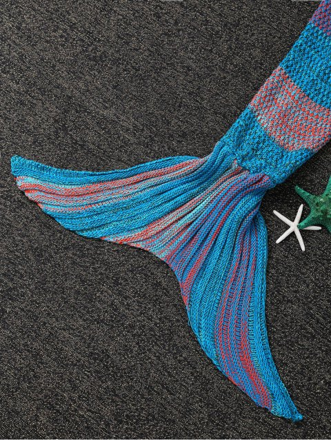 outfits Stripe Knitted Mermaid Tail Blanket - BLUE AND ORANGE  Mobile