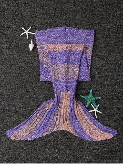 shop Stripe Knitted Mermaid Tail Blanket - YELLOW + PURPLE  Mobile