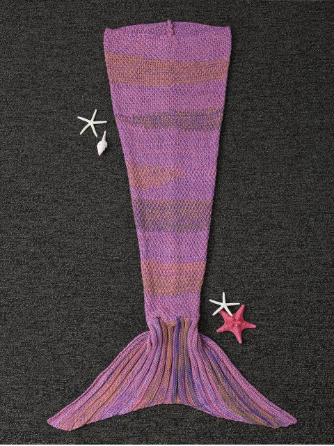 shops Stripe Knitted Mermaid Tail Blanket - LIGHT PURPLE  Mobile