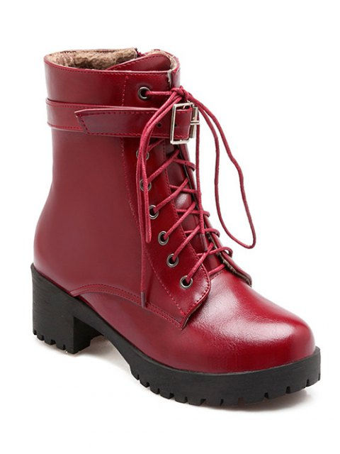 ladies Buckle Lace-Up Round Toe Short Boots - WINE RED 39 Mobile