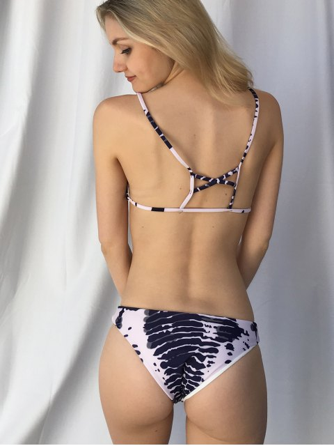 shops Cut Out Printed Spaghetti Straps Bikini Set - PURPLISH BLUE L Mobile