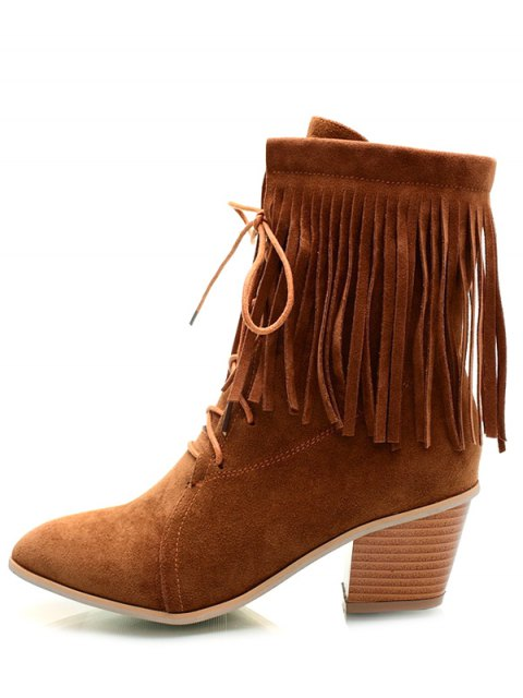 latest Fringe Tie Up Chunky Heel Short Boots - BROWN 37 Mobile