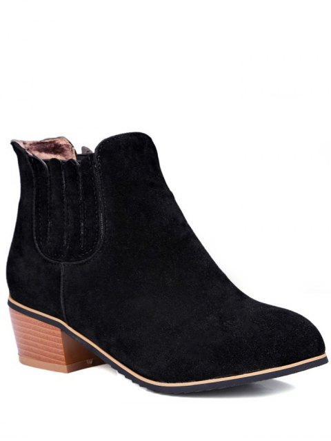fancy Chunky Heel Elastic Band Ankle Boots - BLACK 37 Mobile