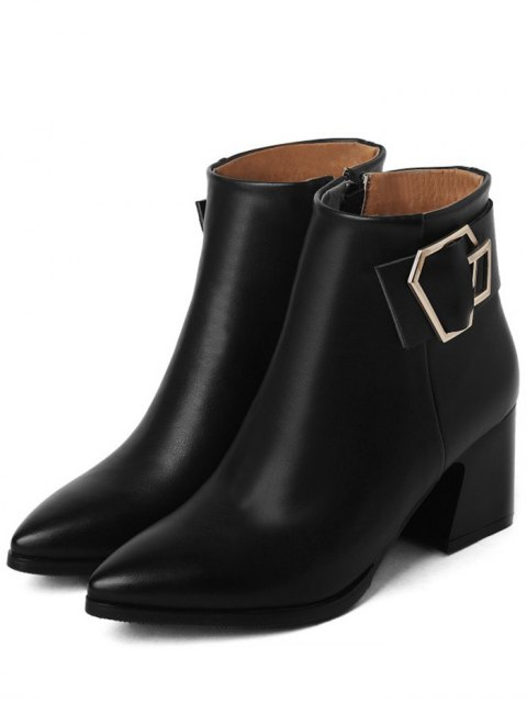 affordable Buckle Strap Pointed Toe Ankle Boots - BLACK 37 Mobile