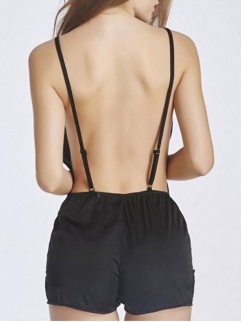 lady Lace Insert Romper Sleepwear - BLACK 2XL Mobile