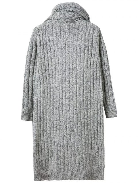 womens Circle Scarf Neck Open Front Cardigan - GRAY ONE SIZE Mobile