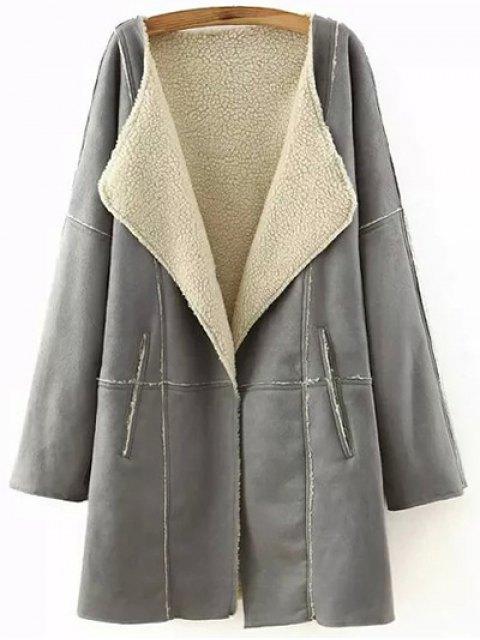 trendy Lapel Collar Suede Coat - GRAY M Mobile