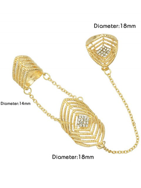 outfit Rhinestone Geometric Ring Jewelry - GOLDEN ONE-SIZE Mobile