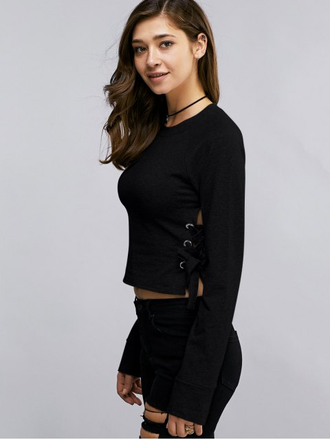 trendy Lace Up Round Neck Cropped Sweatshirt - BLACK M Mobile