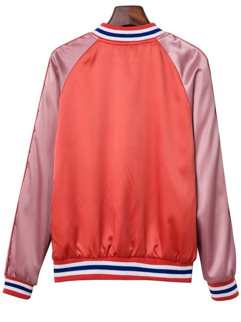 shops Color Block Baseball Jacket - ORANGE RED M Mobile