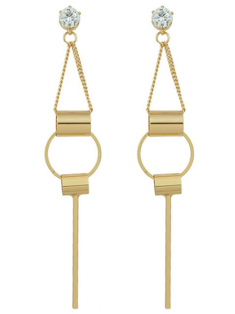hot Alloy Rhinestone Geometric Drop Earrings - GOLDEN  Mobile