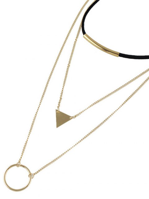 women's Multiayer Circle Triangle Bar Choker - GOLDEN  Mobile