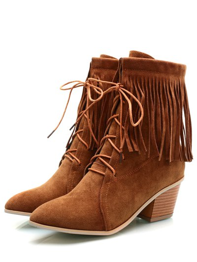 Fringe Tie Up Chunky Heel Short Boots - BROWN 37 Mobile
