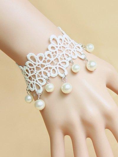 Faux Pearl White Lace Bracelet - WHITE  Mobile
