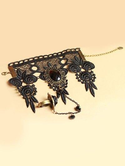 Lace Bracelet with Rose Ring - BLACK  Mobile